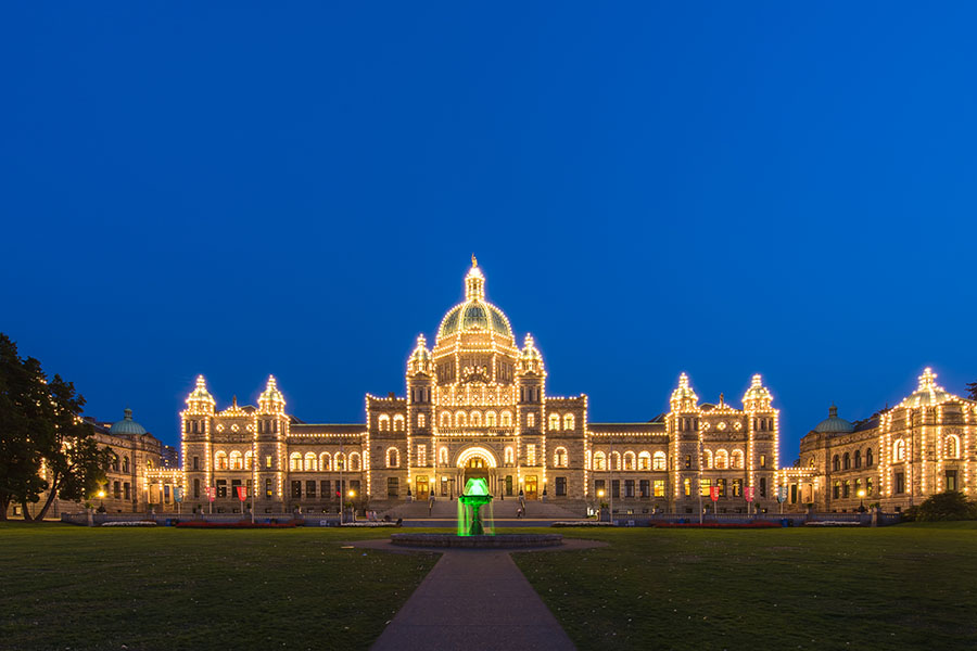 Victoria Parliament Buildings with Christmas Lights
