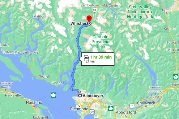 From Vancouver to Whistler route map