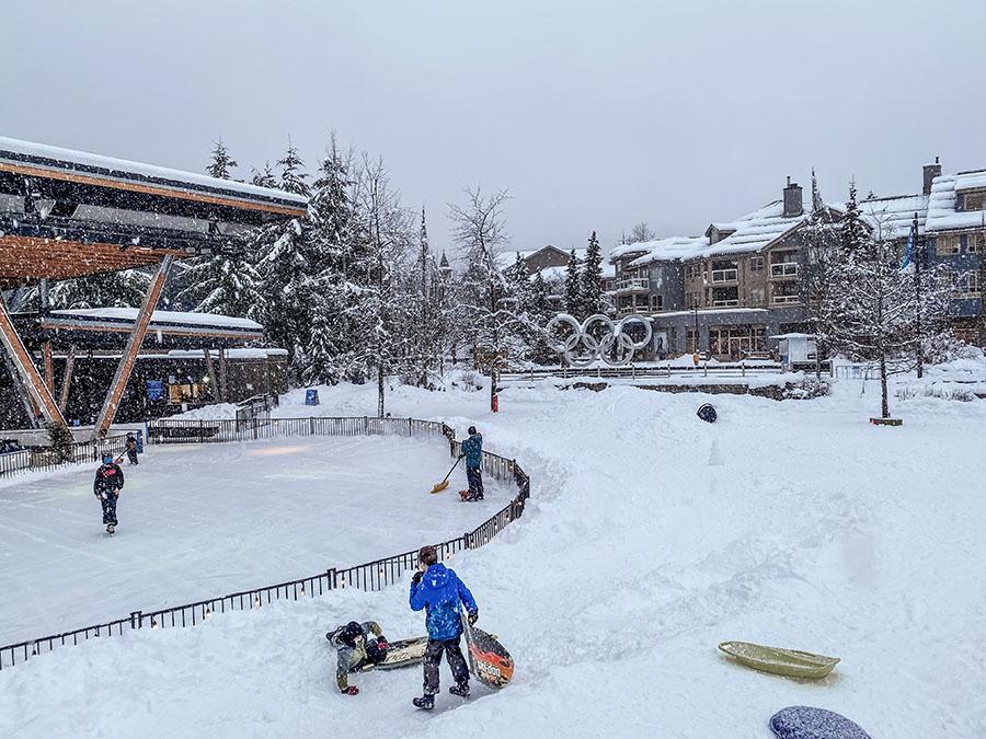 Whistler - Kids Sledding in Whistler Village Olympic Plaza