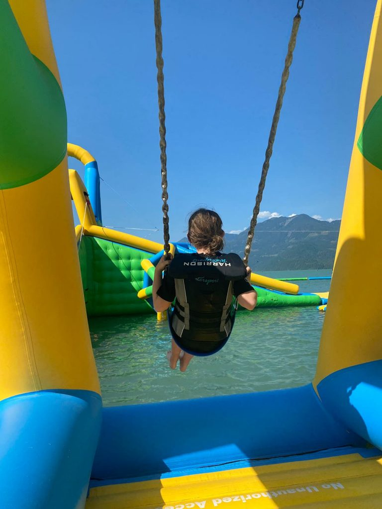 Harrison inflatable water park swings.