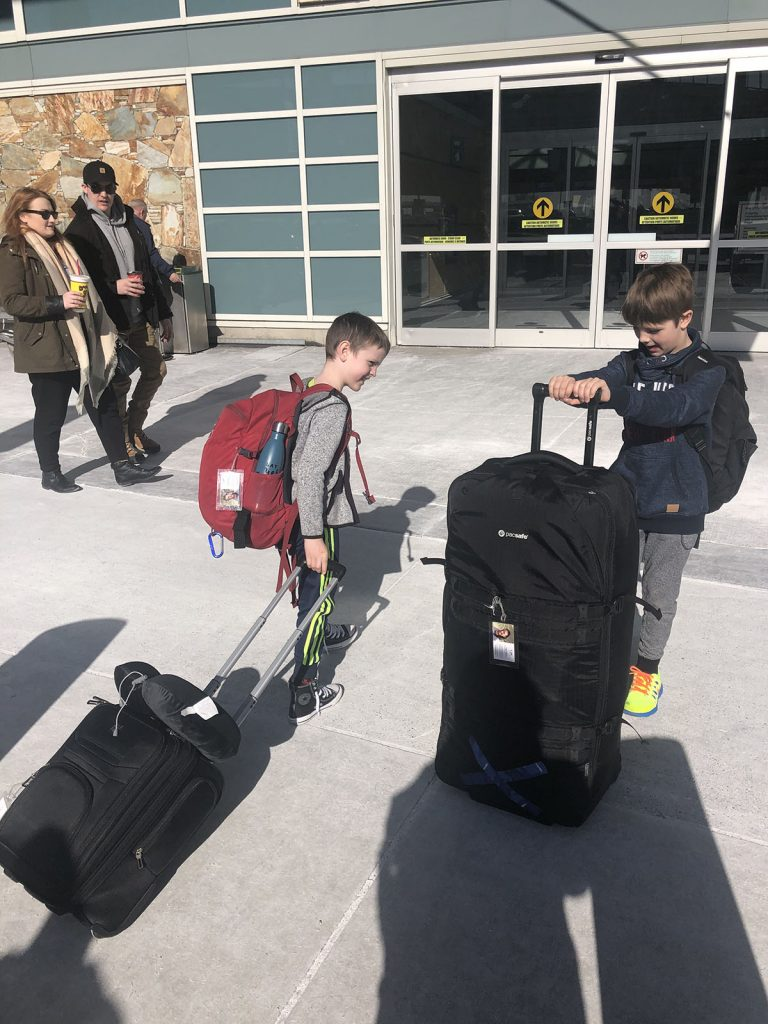 Vancouver Airport Domestic Departures Curbside with Luggage