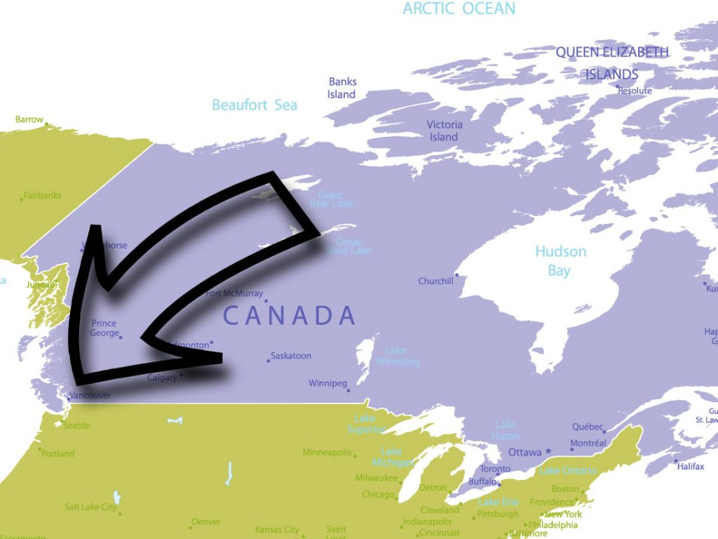 Vancouver on Canada Map.
